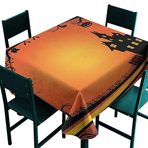ScottDecor Halloween Tablecloth Modern Framework with Curvy Tree Branches Swirls Leaves Gothic Castle Festival Orange Yellow Black Small Square Tablecloth W 36