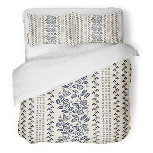 Tarolo Bedding Duvet Cover Set Indigo Block Printed Ethnic Floral Pattern Russian Folk Leaves Vines and Stripes of Navy Blue on Ecru 3 Piece King 104
