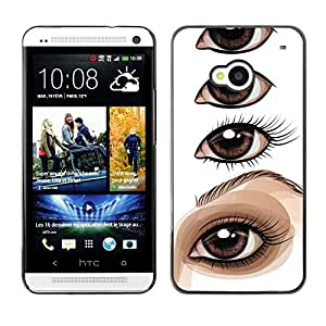 MobileHut / HTC One M7 / Eye Drawing Lesson Artist Painting / Delgado Negro Plástico caso cubierta Shell Armor Funda Case Cover