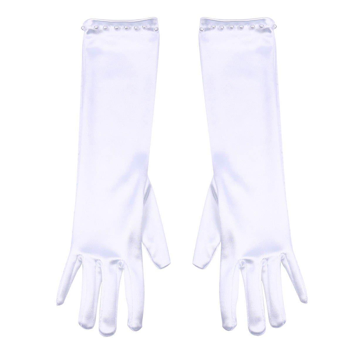 YiZYiF 1 Pair Kids Girls White Satin Formal Pageant Party Princess Dress Gloves White 3-6 Years