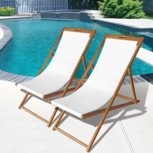 Photo Beach Sling Chair Set Patio Lounge Chair Outdoor Reclining Beach Chair Wooden Folding Adjustable Frame Solid Eucalyptus Wood with White Polyester Canvas 3 Level Height Portable Set of 2,Natural Oiled