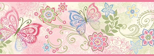 Blue Scroll Wallpaper - Chesapeake TOT46451B Fantasia Pink Boho Butterflies Scroll Wallpaper Border