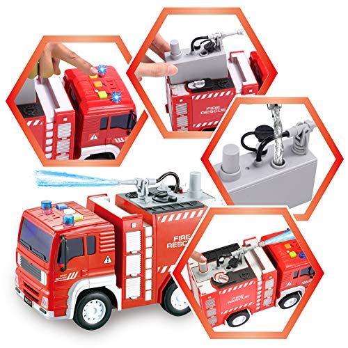 JOYIN 3 in 1 Friction Powered City Fire Rescue Vehicle Truck Car Set Including Helicopter, Ambulance, and Fire Engine, with Light and Sound