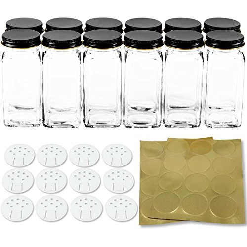 12 Square Glass Spice Bottles 4 oz Spice Jars with Black Metal Lids, Shaker Tops, and Labels by SpiceLuxe (Bottle Tall Rack)