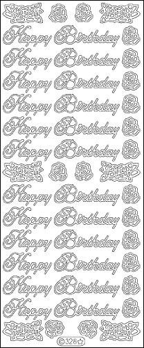 - Elizabeth Craft Designs Happy Birthday Large Peel Off Stickers 4x9 Sheet: Black