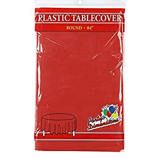 """Red Round Plastic Tablecloth - 4 Pack - Premium Quality Disposable Party Table Covers for Parties and Events - 84"""" - By Party Dimensions (B072BBMR6D) 