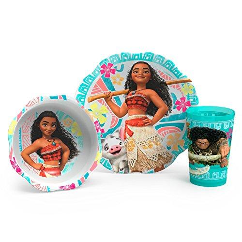 (Moana Zak Designs 3pc Kids Children Toddler Dreamworks Dinnerware Set Kit )