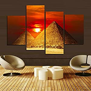 H.COZY Egyptian Pyramids Print in the on canvas. than an oil painting poster or placard ANCIENT EGYPTIAN ALI GIZA PYRAMIDS poster historic beautiful landmark 32X24 inch nyjzd104(No frame)