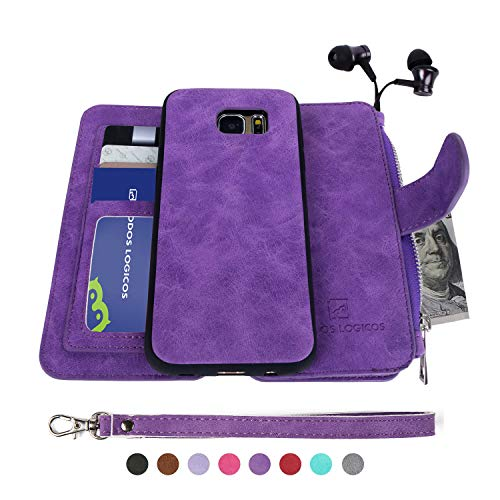 MODOS LOGICOS Samsung Galaxy S7 Edge Case, [Detachable Wallet Folio][2 in 1][Zipper Cash Storage][Up to 14 Card Slots 1 Photo Window] PU Leather Purse with Removable Inner Magnetic TPU Case - Purple