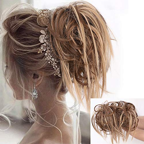 Lativ Messy Hair Bun Tousled Updo Hair Scrunchies Extension With Elastic Rubber Band Messy Hair Accessories Hair Pieces…