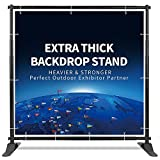 T-Sign 5'x7' - 8'x10' Heavy Duty Backdrop Banner Stand, Extra Thick Professional Large Tube Telescopic Display Step and Repeat Stand for Photography Backdrop, Carrying Case for Free