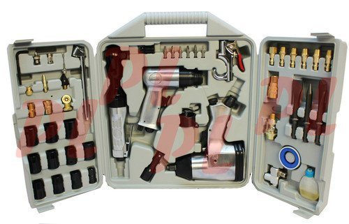 50 Pc Air Tool Kit Air Impact Wrench Air Ratchet Chisel Impact Socket Tool Set by Generic