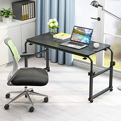 Overbed Table with Wheels, LITTLE TREE Multi-Function Height & Length Adjustable Mobile Table with Tiltable Stand Board, Works as Computer Desk, Writing Desk or Drafting Table (Black Finish) by LITTLE TREE (Image #1)