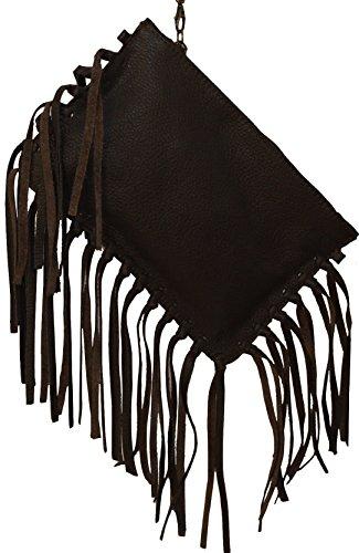 660 Damen Clutch, Umhängehandtasche mit Fransen, Leder, made in Italy, rot, dunkel braun, dunkel blau, grün, schwarz. dunkel braun