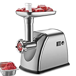 OBVIS Stainless Steel Electric Meat Grinder Mincer 3 Grinding Plates 800 Watts ETL Approved