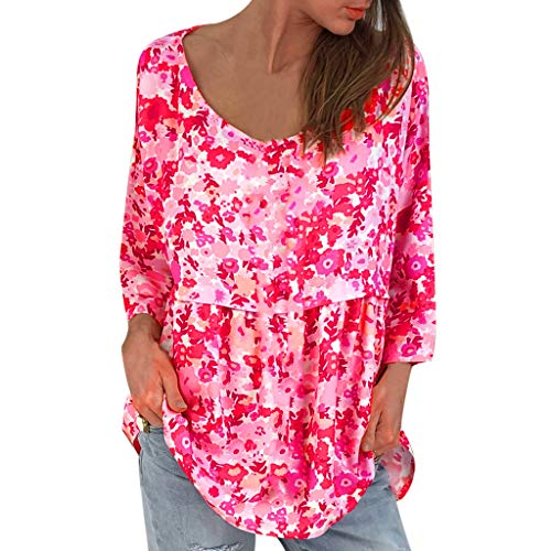 Poppies Printed Modern (Aniywn Ladies Women Printed Short Sleeve Tops Blouse Large Size Casual Round Neck Stylish T-Shirt Hot Pink)