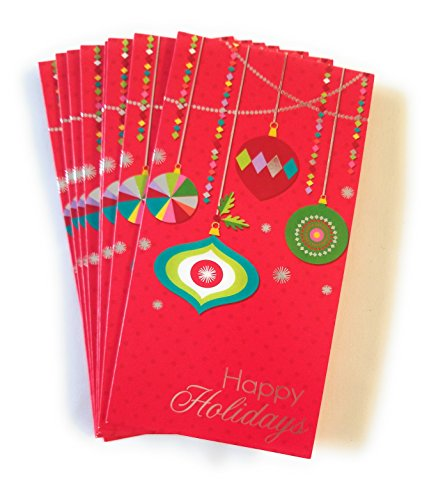 Christmas Money or Gift Card Holder Cards - Set of 8 with Metallic/Glitter Accents (Ornaments)