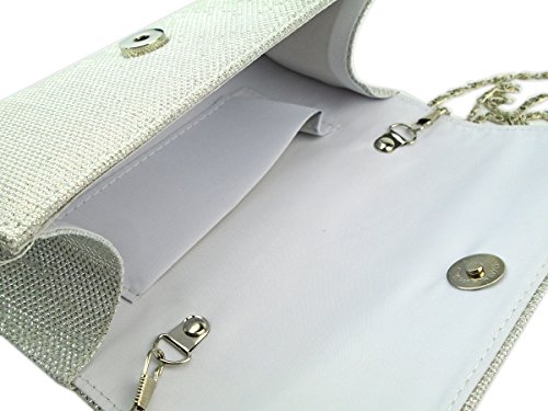 Silver Ivory Evening Women's Prom Wallet Ball AITING Wedding Handbag Party Clutch 7wOvcFq