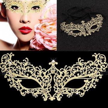 Gold Diamond Metal Eye Mask Masquerade Costume Makeup Ball Party Supplies^.