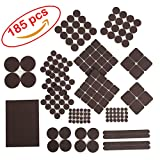 Best Chair Glides for Tile Floors 185 pcs pack! Furniture Felt Pads - Premium Felt and Heavy Duty Adhesive - Floor Protector for wood, tile floor and all hard surfaces. Best for chair legs, Tables, Sofas, Desks and more