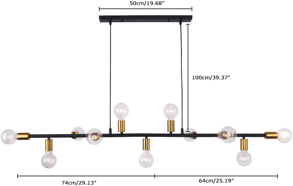 Lingkai Modern Chandelier Kitchen Island Light 11-Light Pendent Hanging Lighting Ceiling Light Black with Antique Brass Socket Finish