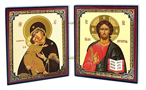 Religious Gifts Christ the Teacher and Virgin of Vladimir Russian Orthodox Icon Diptych 3 Inch Tall by Religious Gifts