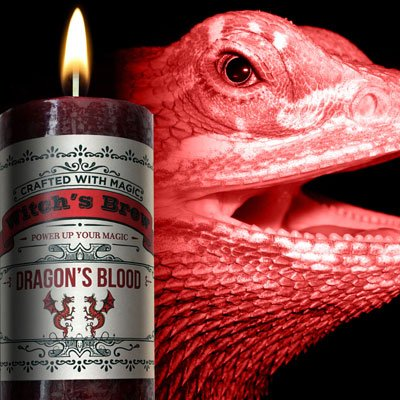 Blue Earth Dragon - Witches Brew - Dragons blood Candle