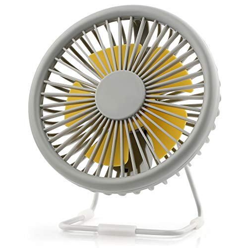 2019 New Small USB Desk Fan, 6 Inch 3 Speeds Mini Personal Fan, Strong Airflow, Whisper Quiet, 180°Up and Down Adjustable, Portable Table Cooling Fan Perfect for Home Office Bedroom Desktop Tabletop