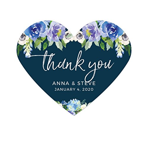 Andaz Press Navy Blue Hydrangea Floral Garden Party Wedding Collection, Personalized Heart Label Stickers, Thank You Anna & Steve January 4, 2020, 75-Pack, Custom Names and Date