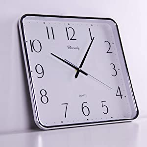 Winnie Square Silent Wall Clock, Classic Digital Clock, Easy to Read, Suitable for Home Office School…