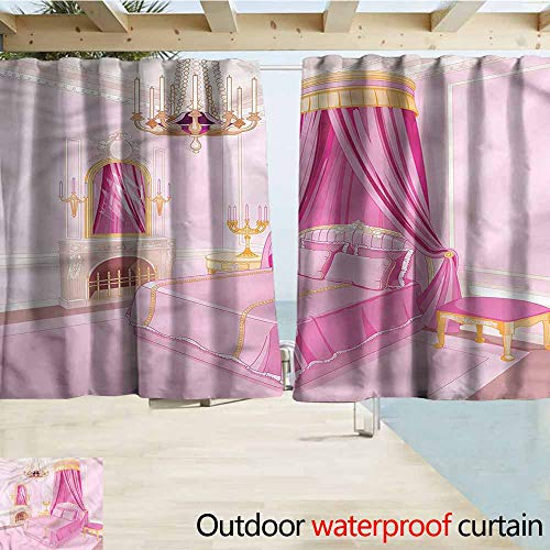 Thermal Insulated Blackout Curtains Princess Princess Bedroom Interior Room Darkening, Noise Reducing W63x63L Inches