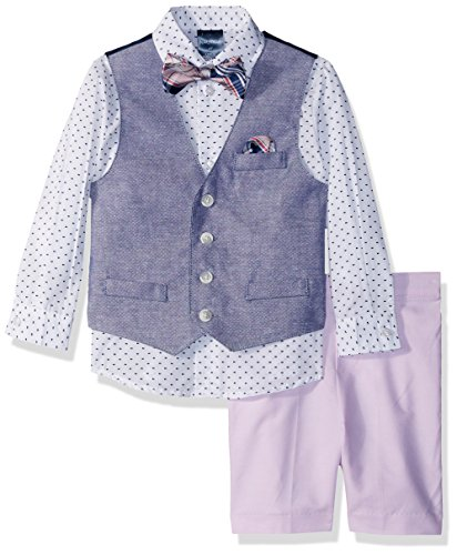 Nautica Little Boys' Set with Vest, Pant, Shirt, and Bow Tie, Pink Basketweave, - Tie Basketweave