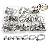 60pcs Hose Clamp Stainless Steel Set Assorted Water Fuel Tube Pipe Clip Kit