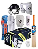 SG 100% Original Brand Blazepak Champion Cricket Kit (Cricket Bat (with Cover) + Legguard + Batting Gloves + Kitbag + Thigh Guard + Arm Guard + Abdo Guard + Cricket Helmet Large) with