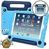 PURE SENSE BUDDY Kids Case compatible with iPad Mini 3, iPad Mini 2, iPad Mini 1 | Anti Microbial Heavy Duty Shock Proof Cover for Kids | Protective, Boys, Girls | Shoulder Strap, Handle, Stand (Blue)