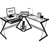 OneSpace 50-JN110500 Ultramodern Glass L-Shape Desk, Black/Clear