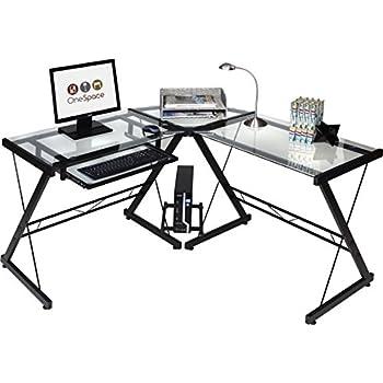 OneSpace 50-JN110500 Ultramodern Glass L-Shape Desk, Black/Clear