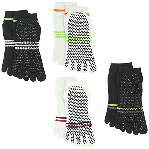 Gripes Ankle Socks Barre 003 Non amp;white amp;Men 4 Socks Slip Different Black Yoga Pair Stripes Athletic for Pilates Women Sports J'colour 2 x0w65qYXO