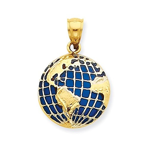14k Gold Globe (14K Yellow Gold BlueTranslucent Acrylic Globe Pendant - (0.96 in x 0.65 in))