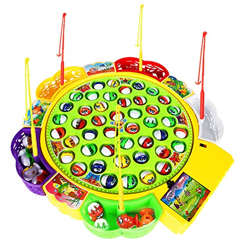Aoile Classical Fishing Toys Set with Music Electric Rotating Fishing Game Funny Sports,Educational Toys for Kid's Birthday Gift(Large Fish (45 Fish))