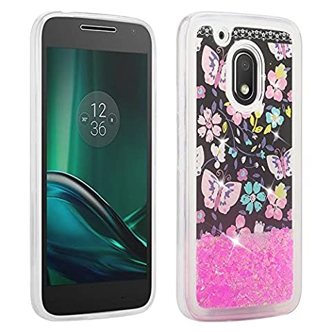 SOGA Moto G Play Case, Moto G4 Play Case, [Moving Sand Liquid interior] Shine Bling Sparkling Glitter TPU Bumper Cover Protector Case for Moto G Play 4th Gen [Drop Protection] - Flower with (Bling Phone Cases For Moto G)