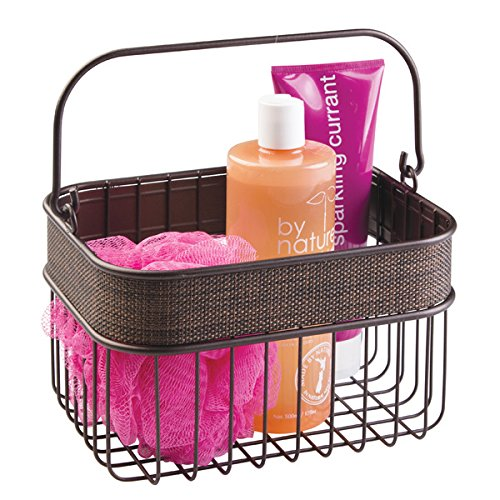 mDesign Household Wire Basket with Handle for Bathroom Storage - Bronze
