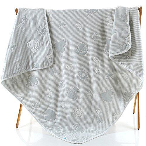Baby Gauze Blanket/Comforter/Swaddle Boys Girls Bed Quilt 100% Muslin Cotton 6 Layered Crib Dream Blankets for Newborn Toddler Kids (Elephant Gray) by Setaria Viridis