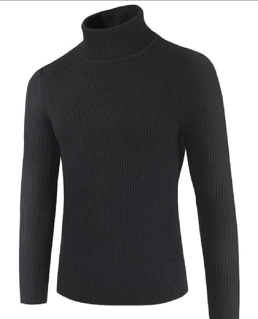mydeshop Mens Basic Ribbed Slim Pullover Turtleneck Thermal Sweater