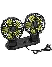 Ymenow 5V Dual-Head Auto Fan, Draagbare Voertuigventilator, Voertuig gemonteerde USB-ventilator Elektrische Ventilator, 360 graden Rotatie Auto Koeling Auto Ventilator Bureau Ventilator Bureau Ventilator met 3 Snelheid Sterke Wind voor Auto Dashboard Home Office