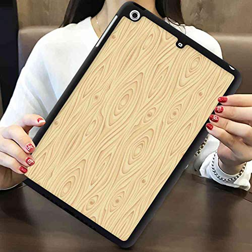 (iPad Mini 2 7.9 Version TPU+PC Case Beige Wooden Texture Pattern Grains of Wood Natural Tree Growth Lines of Nature Organic Theme Cream)