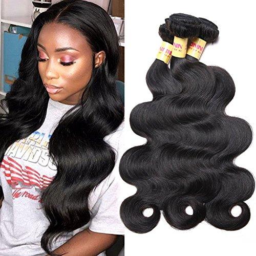 Connie Brazilian Hair Bundles Body Wave 100% Human Hair 3 Bundles 14 16 18 inch Weave Hair Human Bundles Natural Color 1B# (Human Hair 18 Inch Weave)