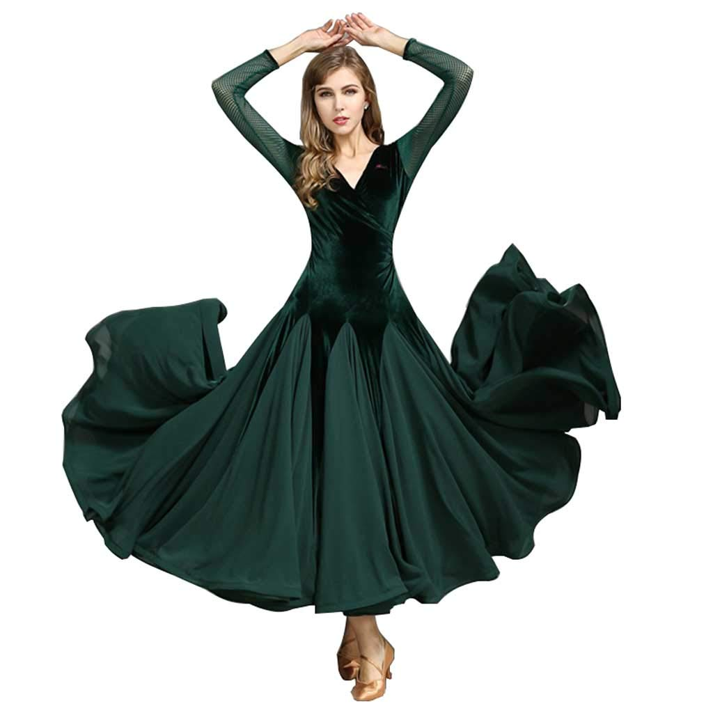 ファッションモダンダンスコスチューム、フォーシーズンズグリーンドレス B07H2ZZTMB ダークグリーン XXL