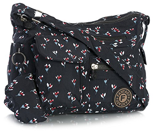 Fabric Handbag Lightweight Cross Big Bag Shop Messenger Floral Multipocket Medium Body Unisex Navy Size Rainproof Sdaaq0wr