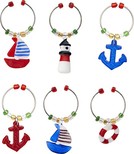 LS Arts Wine Charms, Nautical, Set of 6